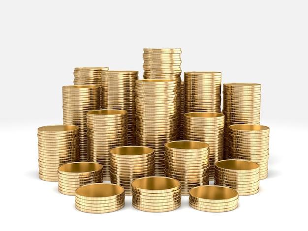Stapel goldener münzen isoliert. 3d-rendering.