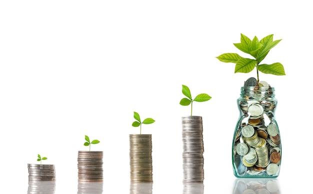 Stapel mischmünzen mit flasche auf weißem hintergrund, geschäftsinvestitions-wachstumskonzept