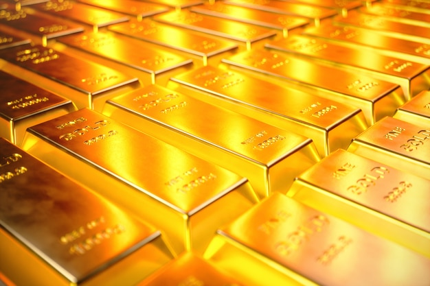 Stapel nahaufnahme goldbarren, gewicht der goldbarren 1000 gramm konzept von reichtum und reserve. erfolgskonzept in wirtschaft und finanzen, 3d-illustration