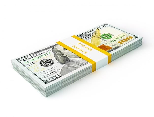 Stapel neuer banknoten der ausgabe 2013 in höhe von 100 us-dollar