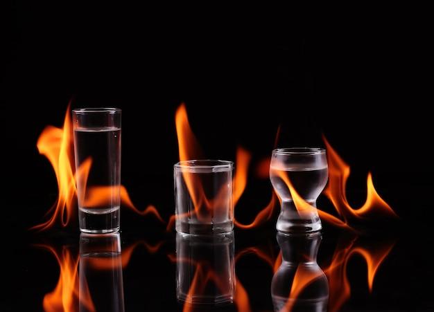 Stapel tequila in flammen