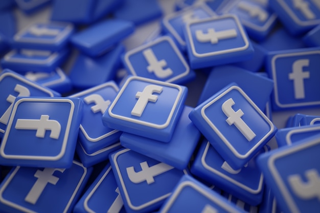 Stapel von 3d facebook logos