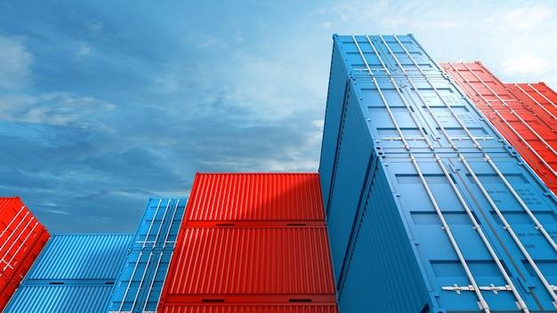 Stapel von behälterboxhintergrund, frachtfrachtschiff für import-exportlogistikgeschäft, 3d-rendering
