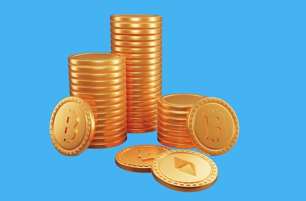 Stapel von bitcoins kryptowährung. 3d-render-darstellung