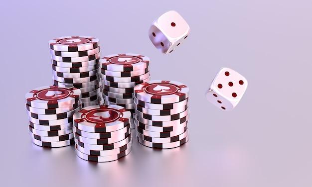 Stapel von casino-chips und würfeln auf einem weiß