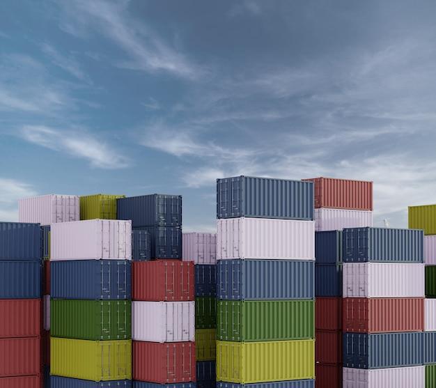 Stapel von containern in einem hafen mit blauem himmel im hintergrund. 3d-rendering