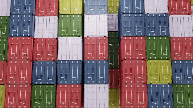 Stapel von frachtcontainern an den docks. 3d-rendering
