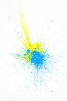 Stapel von gelben und blauen trockenen farben