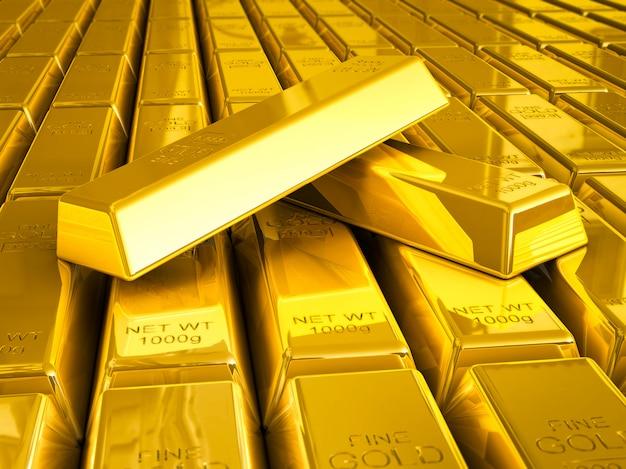 Stapel von goldbarren schließen sich