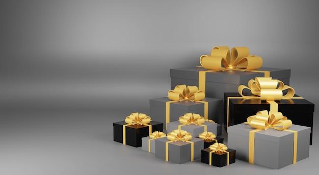Stapel von weihnachtsgeschenk 3d rendering hintergrund