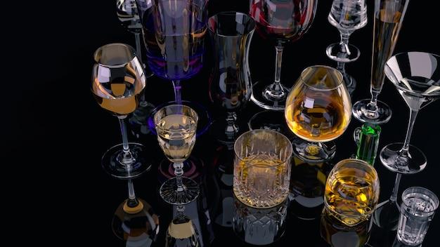 Starke alkoholische getränke in gläsern auf dunklem hintergrund