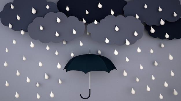 Starker regen auf dunkler wolke und dunklem himmel - regenzeit - ein regenschirm im regen - wiedergabe 3d