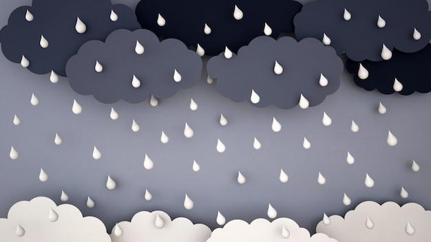 Starker regen auf dunkler wolke und dunklem himmel - regenzeit - im regen - wiedergabe 3d