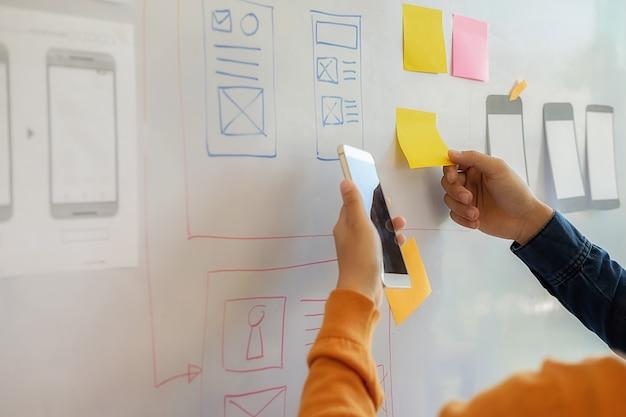 Start-up-partner arbeiten daran, die ideen für eine neue entwicklungsstrategie zu diskutieren.