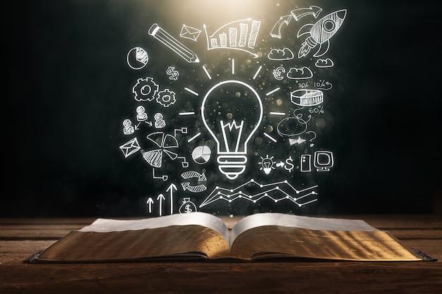 Startup tech abstraktes brainstorming-geschäft in der nähe nahaufnahme