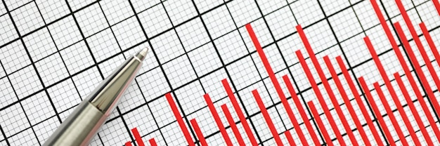 Statistik-berichtsplan mit stift
