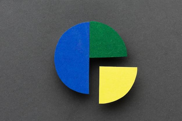 Statistik-konzept mit kreisdiagramm flach legen