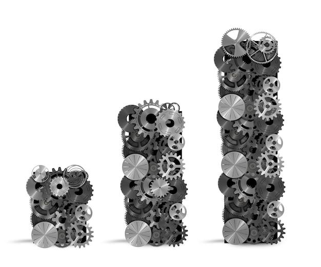 Statistische analyse mit zahnradmechanismus. konzept des analysesystems des finanzmarktes