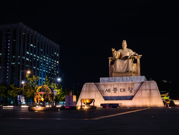 Statue des sejong der große am gwanghwamun-platz