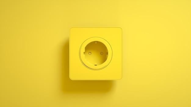 Steckdose auf gelb. 3d-illustration.