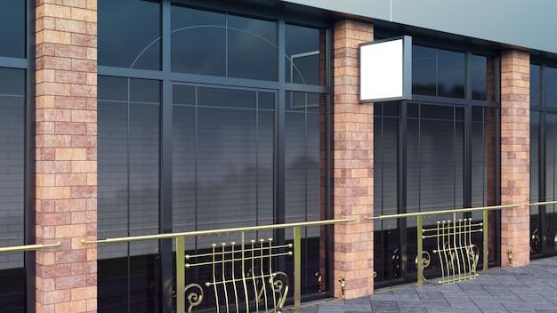 Steel signboard lightbox shop mock up quadratische form display perspektive rendern