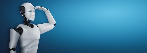 Stehender humanoider roboter, der auf sauberen hintergrund freut