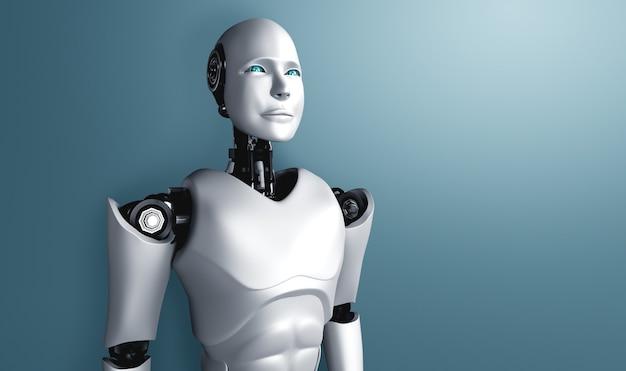 Stehender humanoider roboter, der sich auf sauberen hintergrund freut