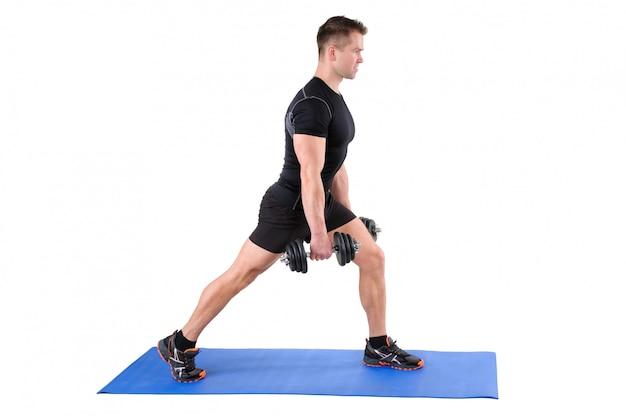 Stehendes hantel-split-squat-training