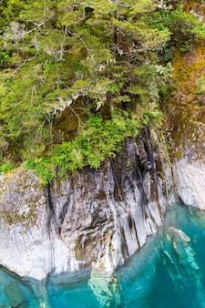 Steile klippen über dem türkisfarbenen wasser der südinsel neuseelands