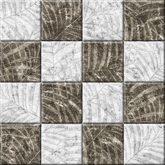 Stein dekorative fliesen mit tropischer blattbeschaffenheit. element für die innenausstattung. hintergrundbeschaffenheit