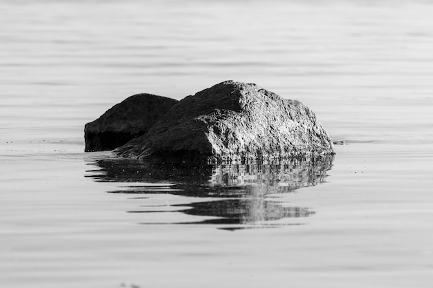 Stein im wasser mit wellen. abstraktes schwarz-weißes foto. foto in hoher qualität