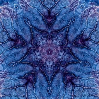 Steinachat lapislazuli blaues mineral, marine aquarell marmor, geometrisches schnittmuster wiederholen. illustration eines runden steinbeschaffenheitsmusterhintergrundes