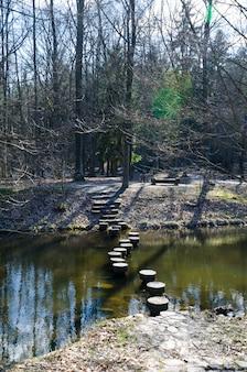 Steinbrücke über einen fluss im wald