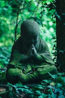 Steinbuddha-statue im schattigen überwucherten garten.
