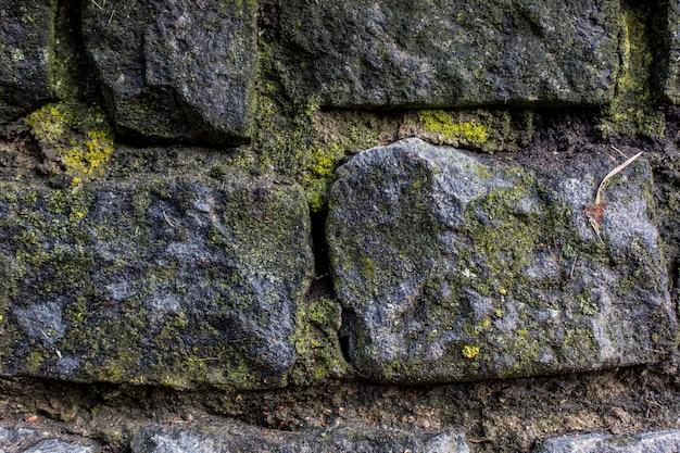 Steine mit moosbeschaffenheitshintergrundmakroschuss