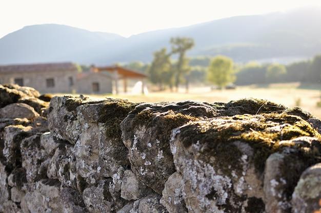 Steinmauer mit moos und unscharfem häuschen