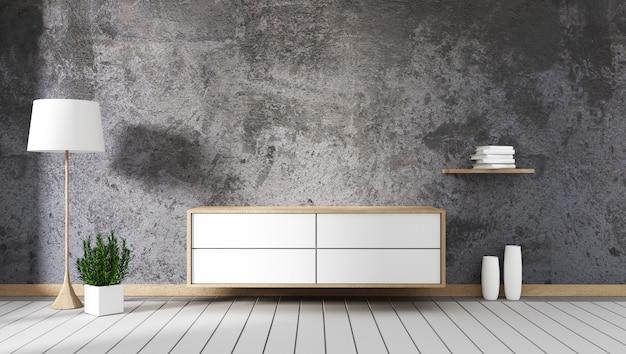 Steinwand mit kabinett mock up leerer raum der innendekoration. 3d-rendering
