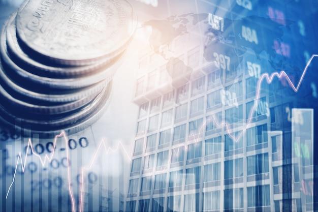Stellen sie auf reihen von münzen für die finanzierung grafisch dar und auf digitalem finanzmarkt auf bankkonto