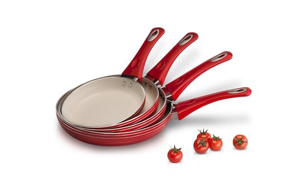 Stellen sie bratpfannen rote tomaten auf eine weiße hintergrundnahaufnahme ein