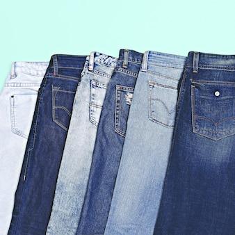 Stellen sie denim ein. denim fashion shop classic liegt immer im trend. denim-stil. denim-liebhaber. minimale mode
