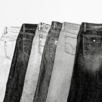 Stellen sie denim ein. denim fashion shop classic liegt immer im trend. denim-stil. denim-liebhaber. minimales schwarz-weiß-modefoto