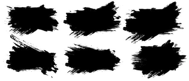 Stellen sie sechs schwarze farbstriche ein, die auf einem weißen hintergrund lokalisiert werden. designpinsel