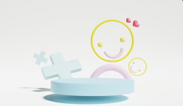 Stellen sie sich und zeigen sie pastellfarben im innenraum des babyzimmers. 3d-rendering.