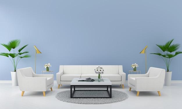 Stellen sie weißes sofa im blauen wohnzimmer ein