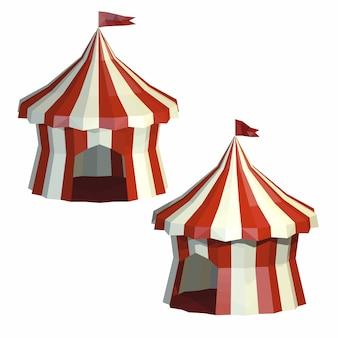 Stellen sie zirkuszelt lokalisiert auf einem weißen hintergrund ein. zirkus. low-poly-stil.
