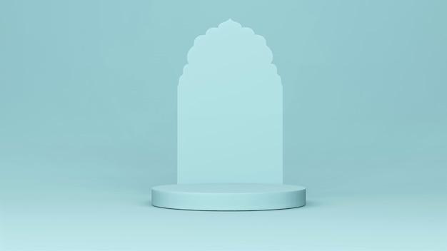 Step stage podium bühnenkulisse mit arabischem bogen. 3d-rendering