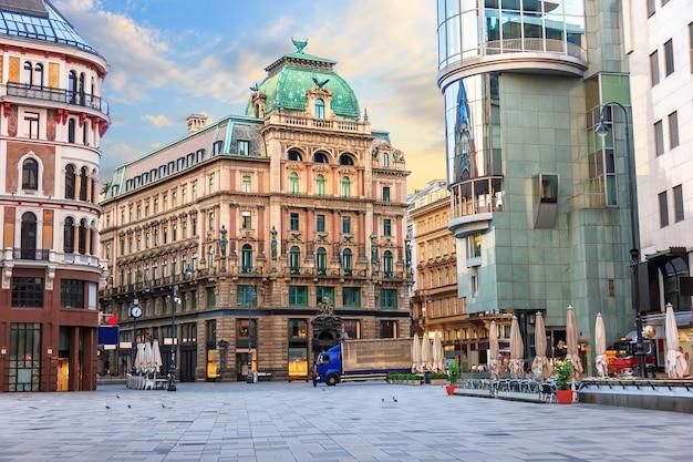 Stephansplatz, ein berühmter platz in wien, österreich ohne menschen