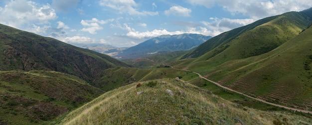 Steppe kasachstan, trans-ili alatau, hochebene assy, eine straße ist in den bergen