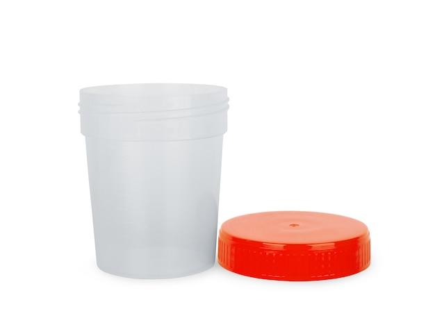 Steriler medizinischer behälter für biomaterial mit schatten auf weißem hintergrund