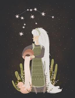 Sternzeichen illustration. porträt einer starken kriegerin mit pfeil und bogen. konstellation